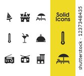 sunny icons set with booth for...