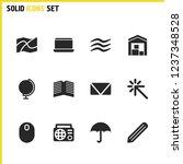 mixed icons set with globe ...