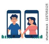 long distance relationship... | Shutterstock .eps vector #1237352125