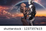 a beautiful blonde in black... | Shutterstock . vector #1237357615