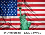 statue of liberty american flag ... | Shutterstock . vector #1237359982