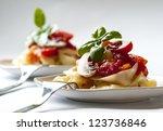 pasta tagliatelle with tomato... | Shutterstock . vector #123736846