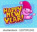 pig is a symbol of 2019 new... | Shutterstock .eps vector #1237391242