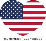 american flag in a  heart shape ... | Shutterstock .eps vector #1237408378