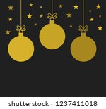 christmas gold baubles on black ... | Shutterstock .eps vector #1237411018