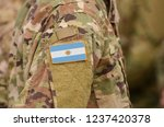 argentina flag on soldiers arm. ... | Shutterstock . vector #1237420378
