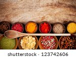 various kind of spices in... | Shutterstock . vector #123742606