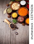 various kind of spices in... | Shutterstock . vector #123742636