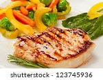 grilled steak with vegetables... | Shutterstock . vector #123745936