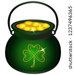 pot filled with gold coins.... | Shutterstock .eps vector #1237496365