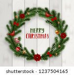 realistic merry christmas... | Shutterstock .eps vector #1237504165