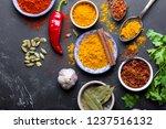 set of indian food cooking... | Shutterstock . vector #1237516132