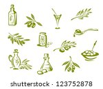 green olives and organic oil... | Shutterstock . vector #123752878