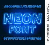 blue neon tube alphabet font.... | Shutterstock .eps vector #1237535422