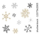 Collection of Christmas snowflakes, modern flat design. Can be used for printed materials.  Winter holiday background. Hand drawn design elements. Festive stickers card.