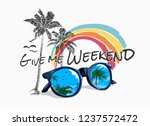 slogan with palm rainbow and... | Shutterstock .eps vector #1237572472
