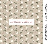 botanical pattern with cotton ... | Shutterstock .eps vector #1237583932