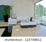 Stock photo lounge area of a hotel fragment of the modern lobby of the five stars hotel in mexico interior 123758812