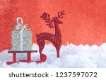 christmas greeting card  red... | Shutterstock . vector #1237597072