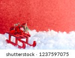 christmas red greeting card ... | Shutterstock . vector #1237597075