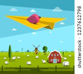bird on paper plane with farm... | Shutterstock .eps vector #1237612798