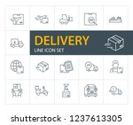 delivery line icon set. courier ... | Shutterstock .eps vector #1237613305