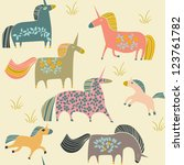 seamless pattern with unicorns | Shutterstock .eps vector #123761782