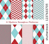 aqua blue and red argyle and... | Shutterstock .eps vector #1237633705