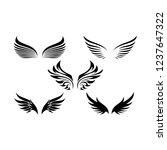 set of various wings silhouette ...   Shutterstock .eps vector #1237647322