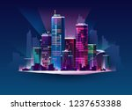 night cityscape in neon light.... | Shutterstock .eps vector #1237653388