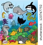 marine animal set with... | Shutterstock .eps vector #123767752