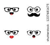 set of emoji. kawai cute faces. ... | Shutterstock .eps vector #1237681675