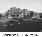 Small photo of CAMBRIDGE, UK - CIRCA OCTOBER 2018: Churchill College in black and white