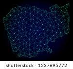 polygonal mesh map of cambodia. ... | Shutterstock .eps vector #1237695772