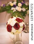 bridal bouquet   red roses.... | Shutterstock . vector #1237697272
