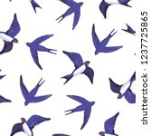 swallow bird pattern | Shutterstock .eps vector #1237725865