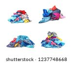 set of heaps of bright clothes... | Shutterstock . vector #1237748668
