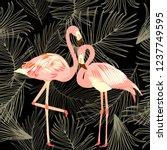 seamless pattern of flamingo ... | Shutterstock .eps vector #1237749595