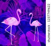 seamless pattern of flamingo ... | Shutterstock .eps vector #1237749622
