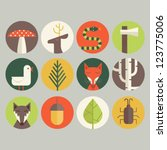 acorn,animal,axe,birch tree,bird,deer,edible mushroom,environmental conservation,forest,fox,green,icon set,insect,leaf,nature