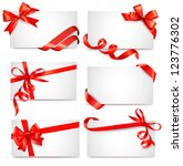 set of card notes with red gift ... | Shutterstock . vector #123776302