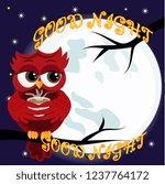 cute cartoon owl coquettish red ...   Shutterstock . vector #1237764172