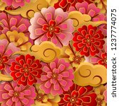 chinese pink red gold flower... | Shutterstock .eps vector #1237774075