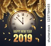 happy new year midnight 2019... | Shutterstock .eps vector #1237784455