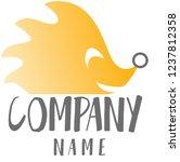 orange hedgehog vector logo ... | Shutterstock .eps vector #1237812358