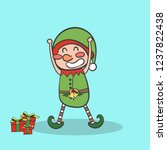 elf with gifts  merry christmas ... | Shutterstock .eps vector #1237822438