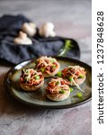 roasted mushrooms stuffed with... | Shutterstock . vector #1237848628