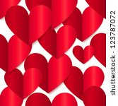 red vector glossy paper hearts... | Shutterstock .eps vector #123787072
