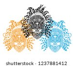 the wolf in the ethnic... | Shutterstock .eps vector #1237881412