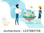 team work cartoon vector... | Shutterstock .eps vector #1237884748